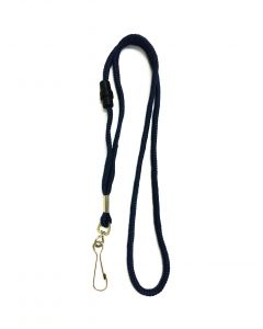 Navy Blue Round Lanyards With Safety Breakaway & Swivel Hook