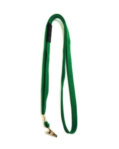 Green Flat Lanyard With Safety Breakaway & Alligator Clip