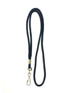 Navy Blue Round Lanyard With Swivel Hook